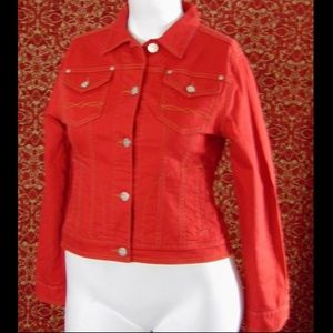 CABI red denim cropped jacket M